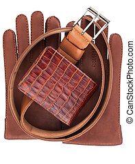 wallet, belt and gloves isolated - e wallet, belt and gloves...