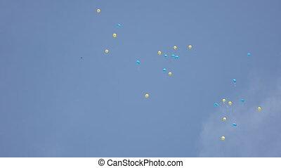Gel balls in bkue sky
