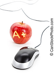 Red apple and A Plus sign,computer mouse, Concept of online...
