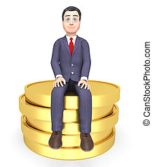 Coins Money Shows Business Person And Commerce 3d Rendering