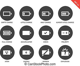 Battery charge levels icons on white background - Battery...
