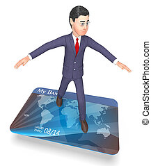 Debit Card Shows Business Person And Bankruptcy 3d Rendering...