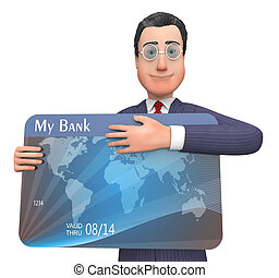 Credit Card Means Business Person And Bank 3d Rendering -...
