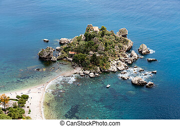 Aerial view of island and beach in Taormina, Sicily, Italy