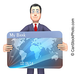 Credit Card Represents Business Person And Bankrupt 3d...
