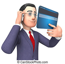 Credit Card Represents Business Person And Buy 3d Rendering...