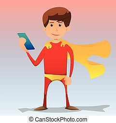 Cartoon superhero holding a phone. - Vector illustrated...