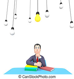 Thinking Lightbulbs Represents Power Source And Adult 3d...