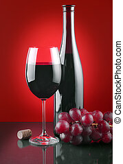 Wine and grape - Red wine and ripe fruits of grapes on a...