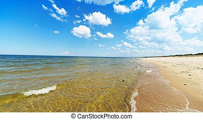 Empty Baltic sea beach - Empty beach with beautiful sky,...