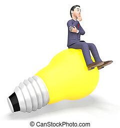 Thinking Businessman Represents Light Bulb And Character 3d...