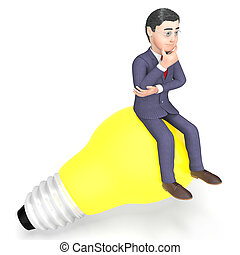 Lightbulb Thinking Indicates Power Source And Character 3d...