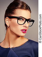 crimson lipstick - Optics style Portrait of a beautiful...