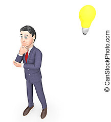 Idea Lightbulb Means Think About It And Businessman 3d...