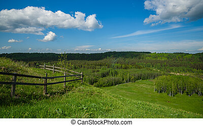 wooden fence in middle of the green hills - wooden fence in...