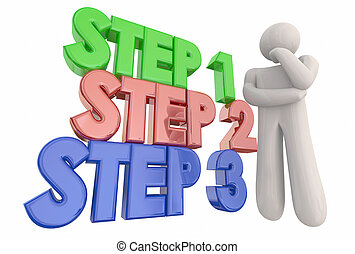 Step 1 2 3 Process System Procedure Thinker 3d Illustration