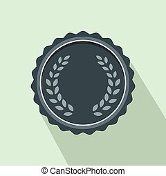 Medal with laurel wreath icon, flat style