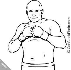 funny cartoon cool MMA fighter illustration - funny cartoon...