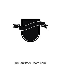 Black shield with ribbon icon, simple style