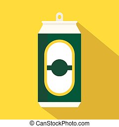 Green beer can icon, flat style - Green beer can icon in...