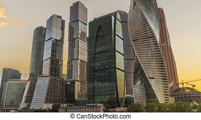 Establishing shot of skyscrapers of Moscow city business...
