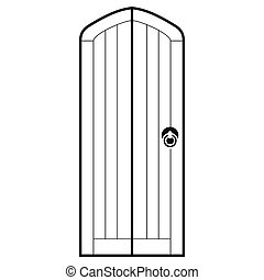Arched wooden door icon, simple style