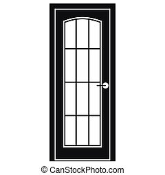 Door with glass icon, simple style