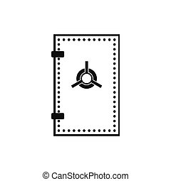 Safe door icon, simple style