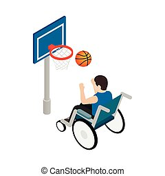 Man in a wheelchair playing basketball icon in isometric 3d...