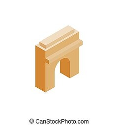 Triumphal arch icon, isometric 3d style