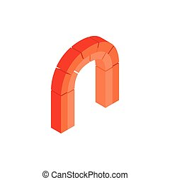 Semicircular arch made of red bricks icon