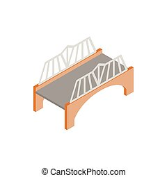 Bridge with wrought iron railings icon in isometric 3d style...