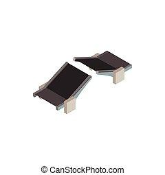 Drawbridge icon, isometric 3d style - Drawbridge icon in...