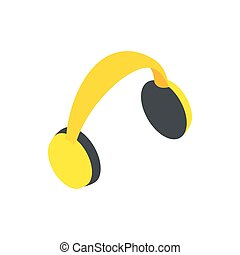 Yellow protective headphones icon in isometric 3d style on a...