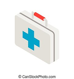 Medicine chest with blue cross icon in isometric 3d style on...
