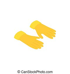 Yellow rubber gloves icon, isometric 3d style - Yellow...
