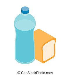 Bread and water for refugees icon, isometric style