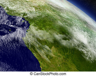 Cameroon, Gabon and Congo from space - Cameroon, Gabon and...