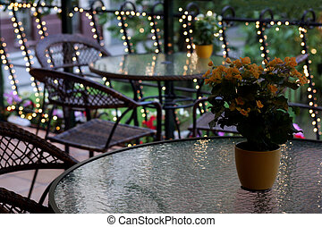 Lighted outdoor patio area