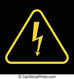 Vector danger sign with frame, high voltage yellow symbolon black background