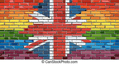 Brick Wall Great Britain and Gay flags - Illustration,...