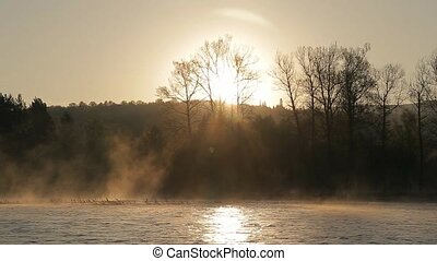 the dawn on the river with fog