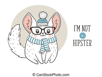 Chinchilla hipster poster - Hipster poster with cute cartoon...
