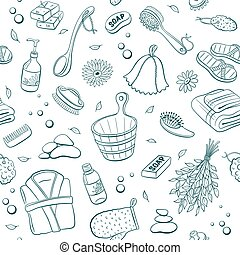 sauna seamless background - Sauna seamless pattern from...