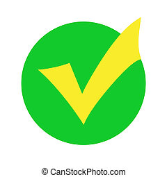 Yellow check mark in a green circle