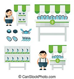 blue and green Seafood Market infographic