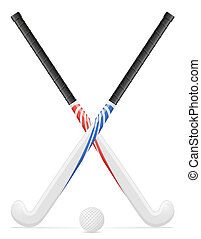 field hockey sport equipment illustration isolated on white...