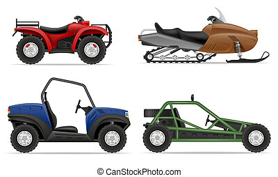set icons atv automobile off roads illustration isolated on...