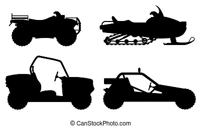 set icons atv automobile off roads black outline silhouette...