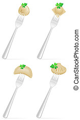 dumplings of dough with a filling and greens on fork set...